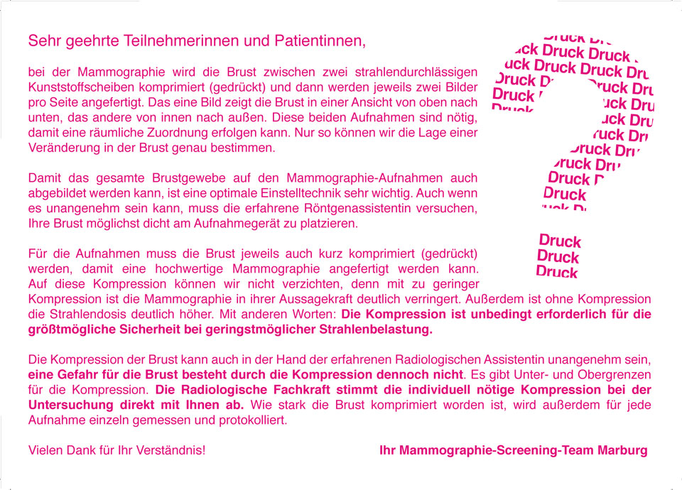 Mammographie-Screening Früherkennung Brustkrebs